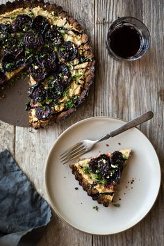 Beet & Caramaelized Onion Tart with Almond Crust & Cashew Ricotta - Dishing Up the Dirt