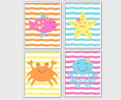 Under the Sea Animals Baby Girl Nursery Prints Yellow Pink Blue Orange Girls Room Decor Girls Bath Sea Creatures 4 PRINT SET