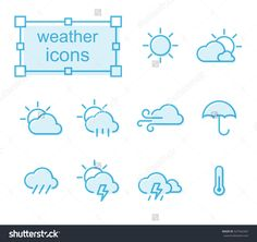 Thin line icons set, Linear symbols set, weather Photo by thesomeday123 on Shutterstock