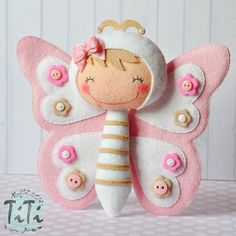 Titi felt artist.  Super cute butterfly felt toy.  Pattern not available, but great idea to either purchase or create your own similar toy with a free pattern available here on Pinterest.