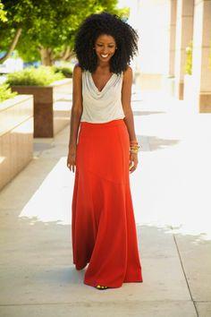 Folake Kuye Huntoon. Style Pantry Fashion Blogger. Slouchy Tee + Mermaid Style Maxi Skirt