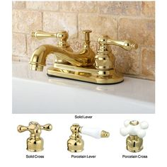 Polished-brass bathroom faucet. Choose from cross or lever handles in solid brass for a contemporary  look or crisp white porcelain that will give the room a slightly vintage feel.