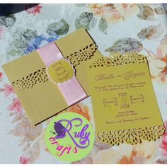 Designed and sold by Ruby Crafts and Gifts Shop Gold Wedding Invitations, Birthday Invitations, Metallic Pink, Christening, Paper Crafts, Bride, Shop, Cards, Gifts