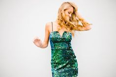Emerald sequin mini dress. With removable straps.