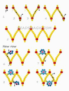 Free pattern for bracelet Spring Flowers - Beading Patterns - Free pattern for bracelet Spring Flowers Free Beading Tutorials, Seed Bead Tutorials, Beading Patterns Free, Free Pattern, Bead Jewellery, Seed Bead Jewelry, Seed Beads, Fine Jewelry, Beaded Necklace Patterns