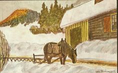Julekort Kunstnerkort Oscar  Grønmyra. Hest m/slede. Utg Mittet