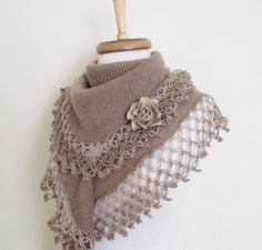Brown Mohair Scarf Shawl Lace EdgeReady for by knittingshop, $27.00
