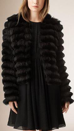 Black Box Fit Panelled Fur Coat - Image 1