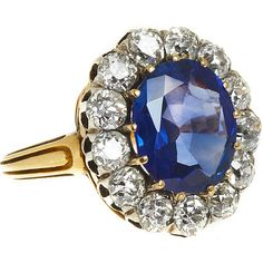 Olivia Collings Antique Jewelry Kashmiri Sapphire Oval Cluster Ring ($63,390) ❤ liked on Polyvore featuring jewelry, rings, accessories, women, clothing & accessories, blue sapphire ring, white ring, glitter rings, sparkle jewelry and blue ring