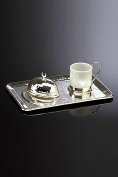 Dream Home Hilal Tekli Kahve Seti Gümüş KOS01.M22G