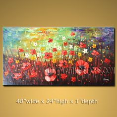 Large Original Impressionist Palette Knife Artist Oil Painting Stretched Ready To Hang Landscape. In Stock $204 from OilPaintingShops.com @Bo Yi Gallery/ ops2988
