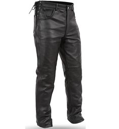 FMC Baron Biker Style Side Lace Waist Mens Leather Motorcycle Pants made of soft milled cowhide leather with side laces for waist sizing, leg zippers for easy on or off, trimmable length, and jean pocket style for men bikers and motorcycle riders. Leather Biker Vest, Leather Men, Cowhide Leather, Armor Shirt, Girls Winter Hats, Biker T Shirts, Shirt Sale, Outdoor Outfit, Baron