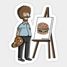Shop Bob Belcher Ross bobs burgers stickers designed by Parkcreations as well as other bobs burgers merchandise at TeePublic. Bob Ross, Bobs Burgers Gifts, Bob's Burgers Merchandise, Burger Drawing, Bobs Burgers Characters, Laptop Stickers, Door Stickers, Printable Stickers, Rick And Morty Quotes