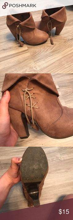 Tan SEUAD booties with a heel!! Lightly worn! Very cute for summer and winter outfits! COMFORTABLE!! Size 6! Shoes Heeled Boots
