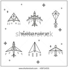 Triangular white airplane. Kite and paper plane. Origami triangle geometric polygon style, travel summer icon. Travel or delivery agency, shop. Feel safe and comfortable