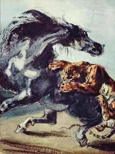 Tiger attacking a horse, 1825-1828 Eugene Delacroix