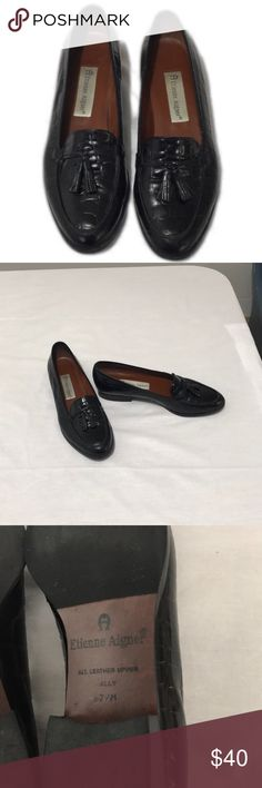 Etienne Aigner Ally Genuine Leather Black Loafers These classic black leather loafers with tassels are in excellent preloved condition, size 7 1/2. Wear to work or pair with skinny jeans. These are quality, high end shoes and still have a lot of life left in them. Bundle for more savings and I'm open to offers! Etienne Aigner Shoes Flats & Loafers