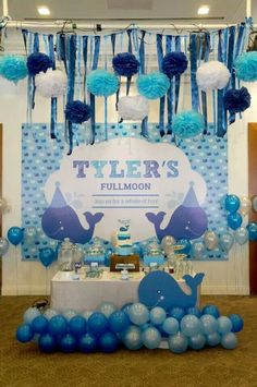 Whales birthday party ideas in 2019 праздник Baby Shower Table, Boy Baby Shower Themes, Baby Shower Favors, Baby Shower Parties, Baby Boy Shower, Baby Shower Decorations, Baby Shower Gifts, Whale Birthday Parties, Baby First Birthday