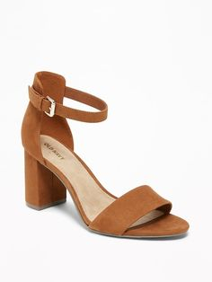 11781a0ae1dc29 Faux-Suede Block-Heel Sandals for Women