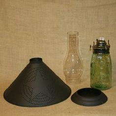 antique mason jars 1858 | Oil Lamp Vintage Quart Mason Jar Punched Tin Star Shade Country Style