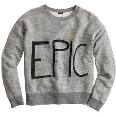 Hugo Guinness For J.Crew Epic Sweatshirt ($51) ❤ liked on Polyvore featuring tops, hoodies, sweatshirts, sweaters, sweatshirt, loose tops, j crew sweatshirt, j.crew, loose fit tops and cotton sweatshirt