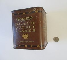 Flavour Advertising Tin Vintage 1927 Black Walnut by HobbitHouse