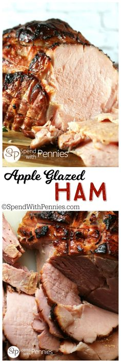One of our all time favorite ham recipes! Apple Glazed Baked Ham is easy and the glaze is delicious! The result is a perfectly crispy skin on this juicy tender baked ham. Serve with apple sauce & scalloped potatoes! Easy and Amazing! Easter Recipes, Apple Recipes, Lunch Recipes, Thanksgiving Recipes, Holiday Recipes, Cooking Recipes, Pork Recipes, Baked Ham Recipes, Dinner Recipes