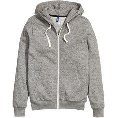 H&M Hooded Jacket $14.99 (€13) ❤ liked on Polyvore featuring tops, hoodies, sweatshirts, hooded tank top, zipper hoodies, women tops and hooded sweatshirt