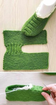 Knit Slippers Free Pattern, Crochet Slipper Pattern, Crochet Headband Pattern, Knitted Slippers, Knitting Stitches, Knitting Socks, Free Knitting, Knitting Beginners, Crochet Boots