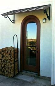 Project Gallery - Metal Canopy Design - Design Your Awning Front Door Awning, Door Overhang, Metal Awning, Window Awnings, Porch Awning, Front Entry, Front Doors, Front Porch, Fabric Awning