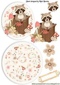 CUTE LITTLE RACCOON IN TREE TRUNK ROCKER CARD on Craftsuprint - Add To Basket!