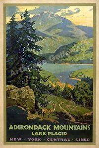 1920's Adirondack Lake Placid Vintage Style Travel Poster - 24x36
