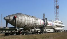 The Proton-M vehicle is rolled out horizontally to its launch pad. Photo Credit: Roscosmos