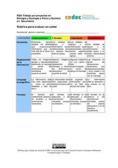 REA Trabajo por proyectos en Biología y Geología y Física y Química en Secundaria  Rúbrica para evaluar un cartel Nombre d...