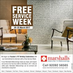 All good things come to an end! Just 2 days left for you to avail of a FREE SERVICING of your Marshalls Wallcovering as our #FreeServiceWeek ends tomorrow, 25th March, 2017! *Terms & Conditions Apply #Wallpapers #Wallcoverings #WallDecor #HomeDecor #InteriorDesign #InteriorDecoration #Homedesign #Homedecor #freeservice #homes #office #interiors.