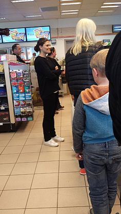 Crown Princess Victoria, Prince Daniel and Crown Princess Mette Marit at a gas station in Norway.