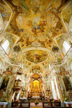 Basilica in Lake Constance, on the Swiss border. Most extravagantly painted and decorated church I saw in Europe, and that's really saying something!!