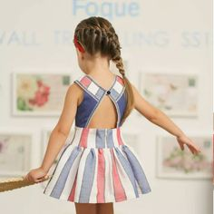 Discover at Kolor Kids the best place to buy dresses for girls - Girl Dress Mykonos by Foque. Baby Girl Frocks, Frocks For Girls, Kids Frocks, Little Girl Outfits, Little Girl Dresses, Kids Outfits, Girls Dresses, Baby Girl Dress Patterns, Baby Dress