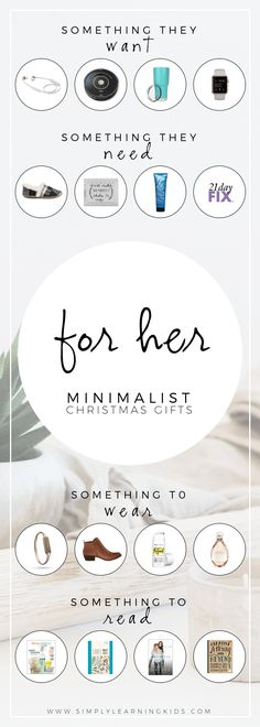 Creative gift ideas for women! Especially great for minimalists or those following the 4 Gift Rule.