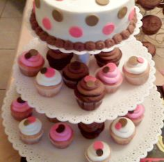 "PINK BROWN POLKA DOTS AVAILABLE IN WHITE OR CHOCOLATE SINGLE LAYER ROUND 6"" OR 8"" OR 2 TIER WITH OR WITHOUT CUPCAKES"