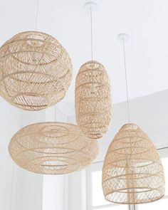 Headlands Round Pendant – Serena & Lily - All For Decoration Boho Lighting, Basket Lighting, Lighting Ideas, Coastal Lighting, Deco Boheme Chic, Contemporary Pendant Lights, Boho Living Room, Pendant Lamp, Rattan Pendant Light
