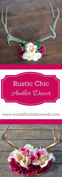 Rustic Chic Antler Decor DIY 2019 Rustic Chic Antler DIY Decor easy way to give your home a woodsy feminine touch.would be cute decorations for shower wedding too The post Rustic Chic Antler Decor DIY 2019 appeared first on Floral Decor. Easy Home Decor, Cheap Home Decor, Deer Decor, Decorating With Deer Antlers, Deer Horns Decor, Diy Rustic Decor, Rustic Chic Decor, Rustic Room, Bedroom Rustic