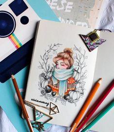 Amazing Drawings, Colorful Drawings, Cute Drawings, Family Illustration, Cute Illustration, Christmas Drawing, Hand Art, Watercolor Drawing, Marker Art