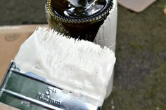 Spray painting vs. brush painting bottles.