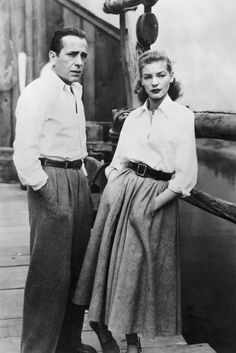 Humphrey Bogart and Lauren Bacall during the filming of John Huston's Key Largo (1948).