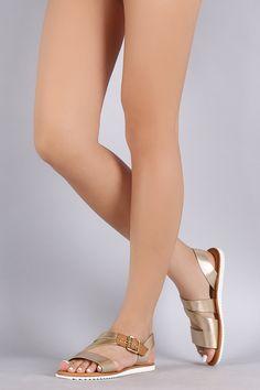 Bamboo Metallic Slanted Lug Sole Flat Sandal