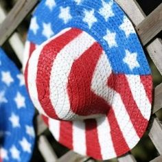 Paint straw hats with stars and stripes and then decorate with them around the house and yard, or simply wear one to the 4th for July parade...