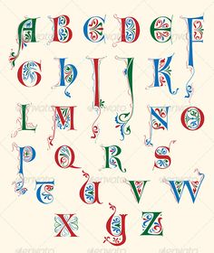 , Hand drawn vector alphabet in medieval style inspired by century. , Hand drawn vector alphabet in medieval style inspired by century letterforms. Alphabet Art, Calligraphy Alphabet, Letter Art, Calligraphy Fonts, Decorative Alphabet Letters, Decorative Lettering, Medieval Manuscript, Medieval Art, Illuminated Letters