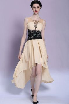 sleeveless prom dress, high-low prom dress, black waist prom dress
