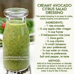 Avocado Lime Dressing-This was DELICIOUS! It taste pretty tart when just trying it straight up. However, when mixed with lettuce and salad toppings it evolves into something addicting and delicious! Healthy too as it has no oils (just avocado! Avocado Lime Dressing, Avocado Salad, Avocado Vinaigrette, Avocado Oil Salad Dressing Recipe, Shrimp Avocado, Ripe Avocado, Egg Salad, Pasta Salad, Paleo Recipes